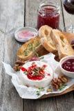 酒的-软制乳酪可口开胃菜用莓果果酱,多士 免版税库存照片