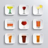 酒精和啤酒被设置的网象 免版税库存照片