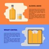 酒精和重量控制横幅模板在平的样式与文本 皇族释放例证