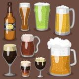 酒精啤酒传染媒介例证茶点啤酒厂和党黑暗的饮料杯子冷淡的工艺喝 库存例证