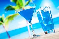 酒精喝,海滩背景,自然五颜六色的口气 库存图片