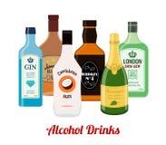 酒精喝-杜松子酒,兰姆酒,威士忌酒,香槟 动画片平的样式 向量 库存例证