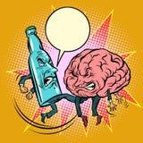 酒精对智力,一个瓶敲打脑子 库存例证
