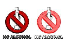 酒精没有符号 库存例证