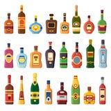 酒精瓶 酒精酒饮料瓶用伏特加酒、科涅克白兰地和利口酒 被隔绝的威士忌酒、兰姆酒或者白兰地酒酒 向量例证