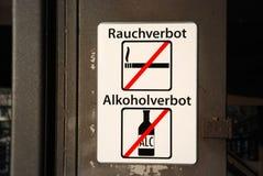 酒精禁令符号抽烟 库存照片