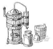 酒精蒸馏过程 皇族释放例证