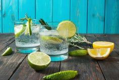 酒精饮料杜松子酒补剂鸡尾酒用柠檬、迷迭香和冰在土气木桌上 免版税库存照片