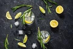 酒精饮料杜松子酒补剂鸡尾酒用柠檬、迷迭香和冰在石桌上 免版税库存照片