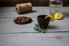 酒精饮料用柠檬和薄菏 图库摄影