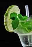 酒精饮料,鸡尾酒用薄菏,柠檬, strows,查出黑色 免版税图库摄影