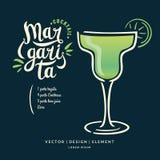 酒精鸡尾酒的玛格丽塔现代手拉的字法标签 向量例证