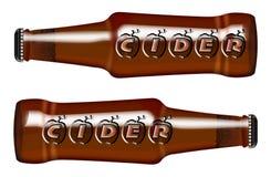 啤酒瓶标志苹果汁 皇族释放例证