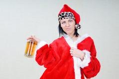 酒醉圣诞老人 免版税库存照片