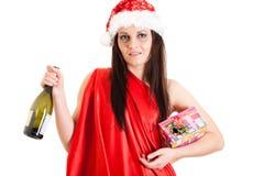 酒醉女孩圣诞老人 免版税图库摄影