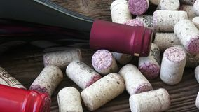 酒黄柏特写镜头  从瓶的黄柏红葡萄酒 影视素材