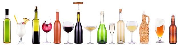 酒,香槟,啤酒,鸡尾酒集合 免版税库存图片