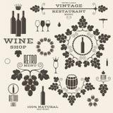 酒 葡萄酒 标签和象 库存例证