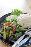 酥脆猪肉用无头甘蓝和米 库存图片