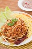 酥脆鲶鱼用绿色芒果沙拉,普遍的食物在泰国。 免版税库存照片