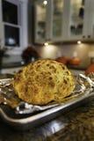 酥脆,被烘烤的花椰菜新鲜从在烹调平底锅的烤箱 图库摄影