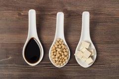 酱油大豆和豆腐 免版税库存照片