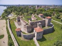 酵母酒蛋糕维达堡垒,维丁,保加利亚鸟瞰图  库存照片