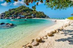 酸值泰国陶的海岛Nang元海岛看法  库存图片