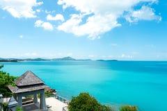 酸值苏梅岛,泰国,热带海观点在海岛 图库摄影
