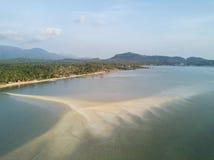 酸值Phangan海滩鸟瞰图  免版税库存图片