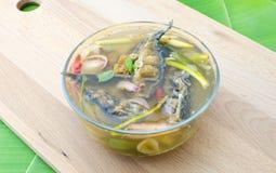 酸和辣熏制的干鱼汤 图库摄影