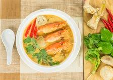 酸大虾汤 免版税库存照片