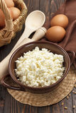 酸奶干酪和鸡蛋 库存照片