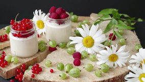 酸奶干酪点心用在玻璃的草莓 股票视频