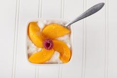 酸奶干酪用全视图的桃子 库存照片