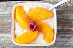 酸奶干酪用在方形的碗的桃子 免版税库存照片