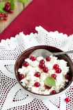 酸奶干酪用莓果 免版税库存图片