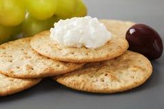 酸奶干酪用薄脆饼干 库存图片