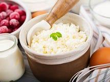 酸奶干酪砂锅的准备的成份用樱桃 库存图片