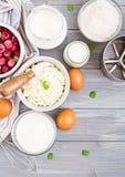 酸奶干酪砂锅的准备的成份用樱桃 免版税图库摄影