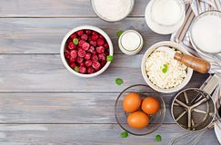 酸奶干酪砂锅的准备的成份用樱桃 免版税库存图片
