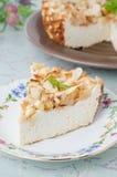 酸奶干酪部分与苹果饼在牌照,特写镜头的 免版税库存照片
