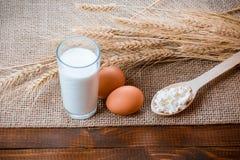 酸奶干酪,杯牛奶,两个鸡蛋, 免版税库存图片