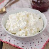 酸奶干酪(夸克、乳脂干酪,凝乳)在一个白色碗 免版税图库摄影