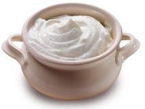 酸奶油色的罐 库存图片