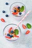 酸奶用果子、莓果和格兰诺拉麦片 免版税库存图片