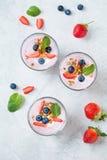酸奶用果子、莓果和格兰诺拉麦片 库存图片