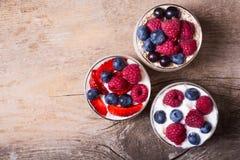 酸奶用燕麦粥、蓝莓、莓和草莓 库存图片