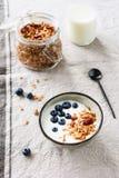 酸奶用蓝莓和格兰诺拉麦片 健康早餐 免版税库存图片