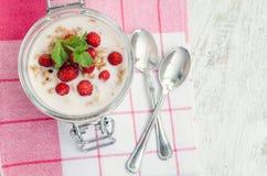 酸奶用野草莓 免版税图库摄影